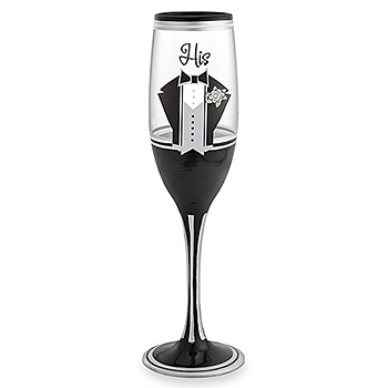 His Hand Painted Champagne Flute Your Wedding Day